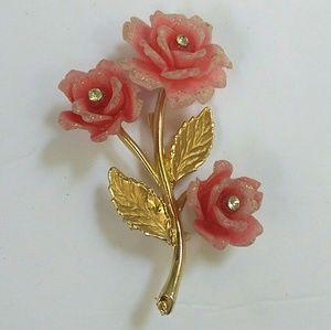 Vintage Acrylic Rose Rhinestone Gold Tone Brooch